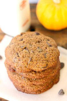 clean eating whole wheat chocolate chip pumpkin cookies | The Diva Dish