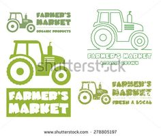 Set of Tractor logo design template. harvest or farm icon. Thin line, silhouette design. Organic farmer.'s market. Eco theme. Vector illustration