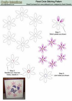 Floral Circle Stitching Pattern on Craftsuprint designed by Sarah Edwards - Floral Circle Stitching Pattern - Now available for download!