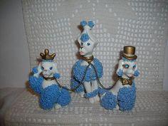 VTG. KREISS & CO. BLUE SPAGETTI MOTHER POODLE & GIRL & BOY