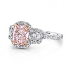 Natureal Collection Platinum Cushion-Cut Fancy Light Pink Diamond Engagement Ring LVS882- I LOVE YOU.