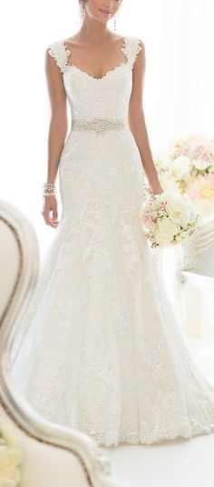 Elegant Off-Shoulder Crystal Lace Wedding Dress - Cute Dresses || More at…