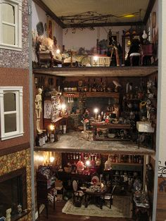 Witch Dollhouse ~ although I think I might have switched the 2nd & 3rd floors.  Workroom out of casual sight.