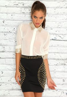 Sequin Detail Long Sleeved Blouse
