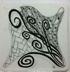 Ein Zentangle aus den Mustern Gust, Travertine, Yew-Dee,  gezeichnet von Ela Rieger