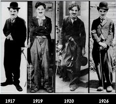 """Charlie Chaplin on the set of """"The Immigrant"""", """"Sunnyside"""", """"The Kid"""" and during production of """"The Circus""""."""