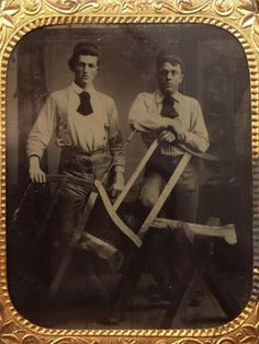 Two-Wood-Cutters-1880s-Occupational-Tintype-Vtg-Carpenter-Saws-Antique-Photo