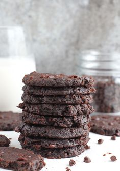 Flourless Vegan Chocolate Fudge Cookies - Five ingredients is all you need to create these brownie-like Flourless Vegan Chocolate Fudge Cookies! With simple ingredients that are gluten-free, grain-free and dairy-free, these cookies are easy to whip up with pantry basics.
