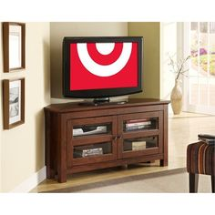 Corner Tv Stand With Glass Door - Brown