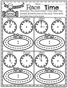 Race Time - On the hour Time Telling Worksheets for Kids. Money Worksheets, Printable Math Worksheets, 1st Grade Worksheets, Worksheets For Kids, Subtraction Activities, Kindergarten Math Activities, Homeschool Math, Math For Kids, Fun Math
