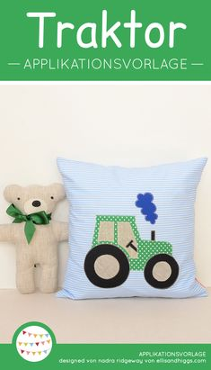 Tractor Applique Templates, Pillow, Cushion, Kids room decoration, sewing for ki… – Sewing Projects Sewing Projects For Kids, Sewing For Kids, Diy For Kids, Sewing Crafts, Crafts For Kids, Sewing Ideas, Diy Crafts, Paper Embroidery, Embroidery Patterns