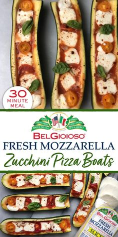 Low Carb Recipes, Diet Recipes, Vegetarian Recipes, Cooking Recipes, Healthy Recipes, Zucchini Side Dishes, Veggie Dishes, Zucchini Pizza Boats, Stuffed Zucchini Boats