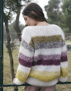Revista principiantes 5 Otoño / Invierno   23: Mujer Jersey   Crudo / Marrón / Amarillo / Malva oscuro