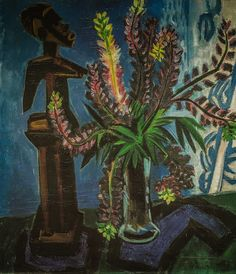 """inland-delta: """"Max Pechstein, Still Life (South Sea figure and lupins), 1917 """""""