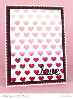 Love and Adore You Die-namics, Staggered Hearts Stencil - Julie Dinn #mftstamps
