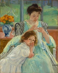 Mary Cassatt 'Young Mother Sewing'1900