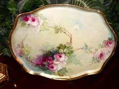 Limoges Fabulous Tray Covered in Wonderful Hand Painted Pink Roses