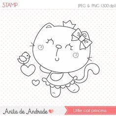50% OFF Princess stamp - commercial use - digital stamp, line art, digital clip art, graphics, digital images - S016