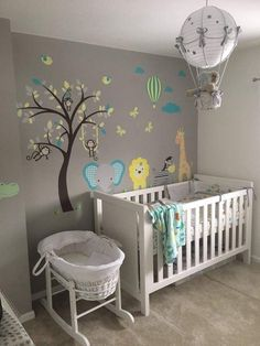 Jungle Nursery Wall Stickers Enchanted Interiors Premium Self Adhesive Fabric Nursery Wall Decals Baby Nursery: 27 Easy and Cozy Baby Room Ideas for Girl and Boys Baby Boy Rooms, Baby Bedroom, Baby Room Decor, Baby Boy Nurseries, Baby Cribs, Kids Bedroom, Baby Room Boys, Baby Boy Bedroom Ideas, Baby Room Ideas For Boys
