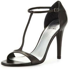 Stuart Weitzman Sinful Leather T-Strap Sandal, Black