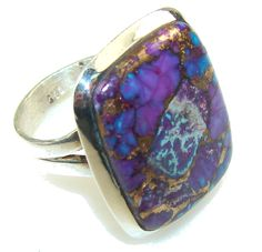 $52.85 Excellent Purple Copper Turquoise Sterling Silver Ring s. 7 at www.SilverRushStyle.com #ring #handmade #jewelry #silver #turquoise