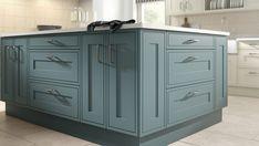 Inframe Kitchen, Blue Kitchen Cabinets, Kitchen Units, Kitchen Decor, Traditional Kitchen Inspiration, Traditional Kitchens, Small Kitchen Remodel Cost, Light Blue Green, Kitchen Styling