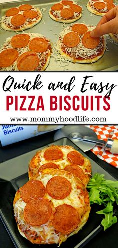 Easy and Delicious Mini Biscuit Pizza Recipe for Kids. Easy dinner idea that the kids will love, make your own personal pizzas with a can of biscuits. dinner recipes for kids Easy and Delicious Mini Biscuit Pizza Recipe for Kids Easy Meals For Kids, Quick Easy Meals, Easy Dinner Recipes, Easy Pizza Recipe For Kids, Dinner Ideas For Kids, Easy Homemade Pizza, Homemade Recipe, Lunch Recipes, Biscuit Pizza
