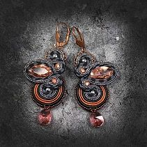 Black red gray earrings with crystal. Soutache Earrings, Drop Earrings, Pendant Necklace, Jewels, Crystals, Red, Shibori, Black, Jewellery