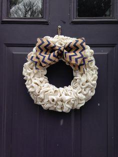White burlap wreath with chevron bow