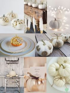 Gold and White Pumpkin Wedding Decor Ideas Mood Board from The Wedding Community
