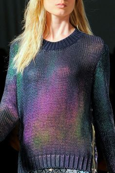 Love the multi metallic oil stain look of this sweater