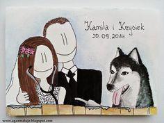 kartka na ślub, para młoda, pies, weterynarz