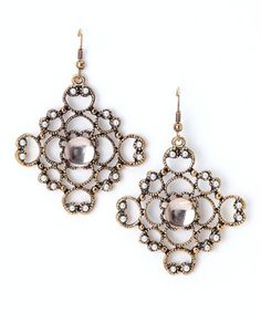 Brass antique lace and pearl earrings