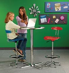 DEMCO Chrome Café Table & Tractor Drafting Stools