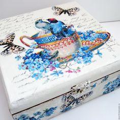 Купить Шкатулка для чая Попьём чайку? - бежевый, светло-бежевый, голубой, чашка, птички, цветок