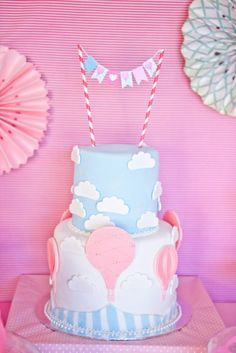 LOVE this cake at this Vintage Hot Air Balloon Baby Shower via Karas Party Ideas   Karas Party Ideas #vintage #hot #air #balloon #baby #shower #ideas #supplies