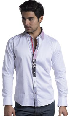 https://www.cityblis.com/4505/item/15807  Vassari Men's Solid Button Down Shirt with Designer Contrast Stripe Details - $108 by BARABAS  Vassari Men's Solid Button Down Shirt with Artistic Patched Pattern Detail  Artistic Color Block Contrast on the Front Placket, Collar and Inside Cuffs Button on Sleeve Convenient for Roll Up Regular Fit 100% Cotton Medium Machine Wash  Item model number: B1126-W