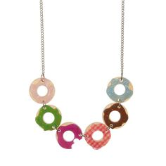 """Sugar Bagel Bunch Necklace - """"Frosted favourites and sprinkles galore. Right Dolly? Free Base, Acrylic Resin, All Design, Bagel, Washer Necklace, Embellishments, Hand Painted, Sugar, Drop Earrings"""