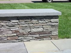 Colonial Fieldstone seat wall with Bluestone Cap | Flickr - Photo ...
