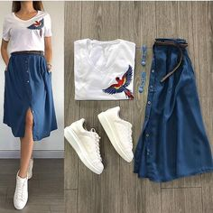 terno top and skirt fashion skirt Modest Outfits, Classy Outfits, Skirt Outfits, Stylish Outfits, Cool Outfits, Hijab Casual, Skirt Fashion, Fashion Dresses, White Sneakers Outfit
