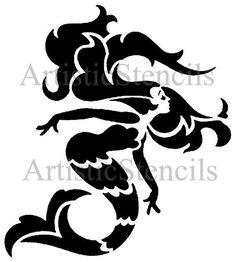 Art Deco Mermaid Stencil 10x9