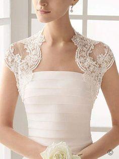 E  Anew Size White Ivory Lace Wedding Bridal Bridesmaid Bolero Jacket Shrug