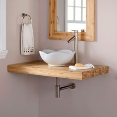 "37"" Bamboo Wall-Mount Vanity Top for Vessel Sink - Bathroom Vanities - Bathroom"