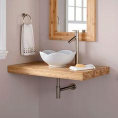 """37"""" Bamboo Wall-Mount Vanity Top for Vessel Sink - Bathroom Vanities - Bathroom"""