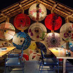 Custom Size Wallpaper Mural for Sushi Restaurant Colorful Umbrellas (㎡) Japanese Restaurant Interior, Japanese Interior, Restaurant Interior Design, Colorful Restaurant, Art Restaurant, Restaurant Interiors, Sushi Restaurants, Custom Wallpaper, Of Wallpaper