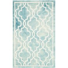 Turquoise and Ivory Wool Area Rug With Mosaic Design - SELCT SIZES ON BACKORDER, CALL FOR AVAILABILITY