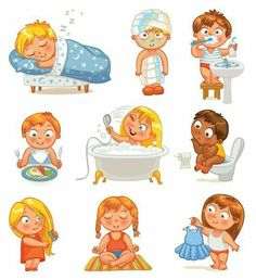 Health and hygiene isolated on white background. Vector image Health and hygiene isolated on white background Vector Image - Unique Baby Bathing Kinder Routine-chart, Kids Routine Chart, Health Images, Baby Learning, Personal Hygiene, Healthy Kids, Healthy Habits, Kids And Parenting, Activities For Kids