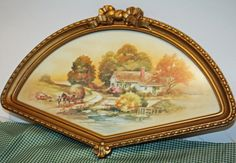 Items similar to Vintage Fan Shaped Picture, Home Interiors Picture, Country Fall Scene Print, Under Glass on Etsy Shape Pictures, Childhood Memories, 1980s, Vintage World Maps, Parties, Interiors, Shapes, Fan, Antiques