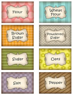 Pantry or canister labels Spice Jar Labels, Canning Labels, Pantry Labels, Canning Recipes, Printable Recipe Cards, Printable Labels, Free Printables, Recipe Printables, Printable Vintage