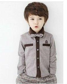 estilo coreano guapo bolsillo falsos corbata de lazo camisa marrón tz12040902-T-shirts para niños-Identificación del producto:548002205-span...